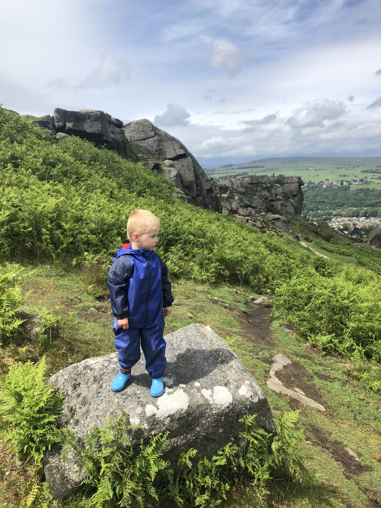Enjoying the views at Cow and Calf, Ilkley