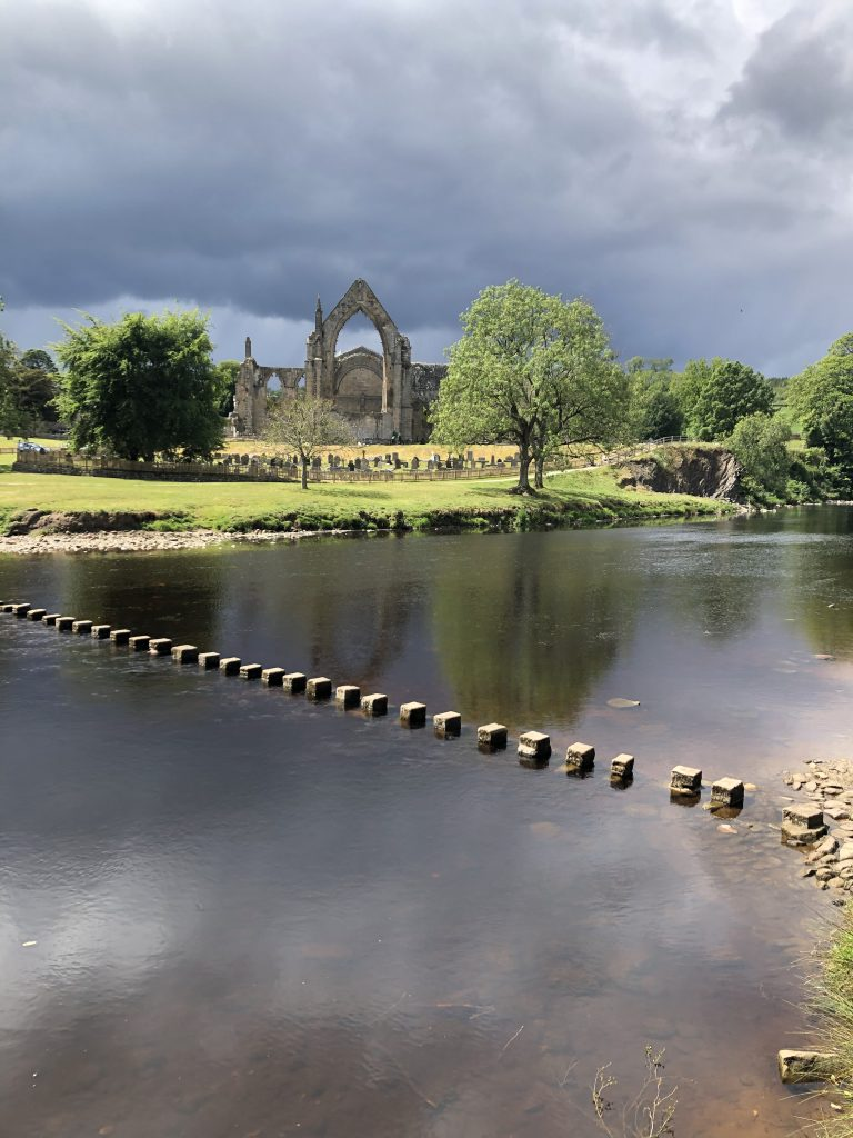 Bolton Abbey Priory and stepping stones
