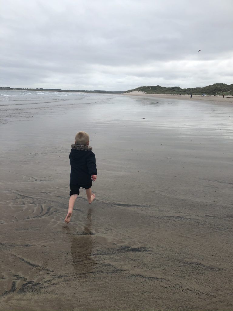 evening walks and paddles on beadnell bay beach