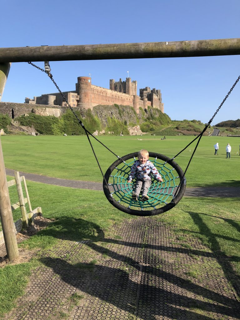 Bamburgh playground - view of the castle
